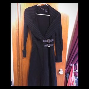Detailed buckle sweater dress.
